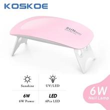 KOSKOE Sun UV Lamp Fold Portable LED UV Lamp For Gel Nail Gel White Pink Curing Machine USB Cable Mini Nail Dryer Nail Art Tools