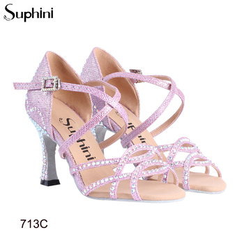 Great Performance Microfiber Soft Sole Sparkle Pink Glitter With Rhinestones Suphini High Heel Latin Dance Shoes