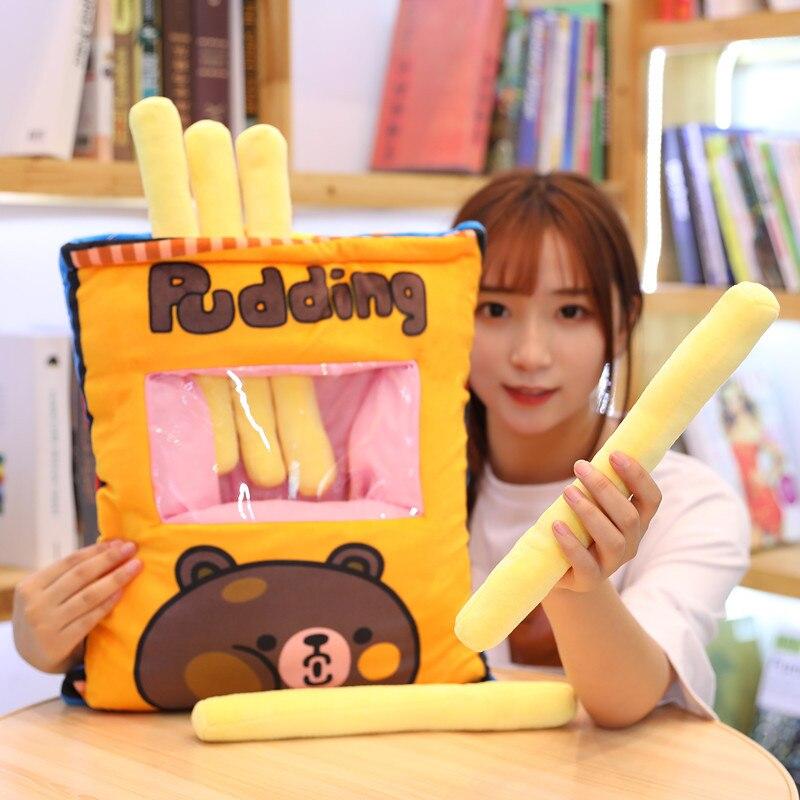 Un grand sac de collations oreiller créatif un sac 6 modèle de racine frites jouets en peluche mignon cadeaux créatifs poupée