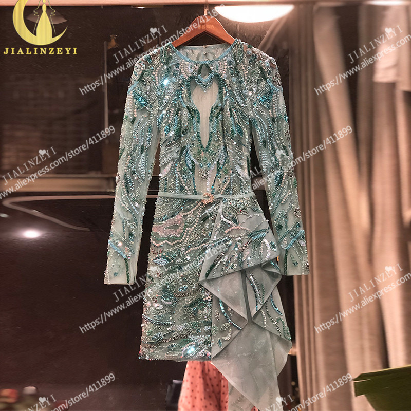 Rhine Real Pictures Sexy Full Luxurious Beads Sequins Long Sleeves Sky Blue Short Length Formal Dress Promd Dress