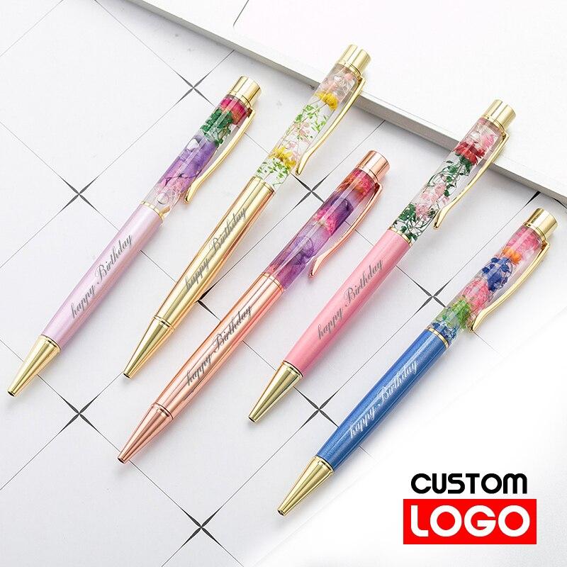 New Eternal Life Flower Oil Pen Metal Ballpoint Pen Lettering Engraved Name Advertising Pen Custom Logo Stationery Wholesale