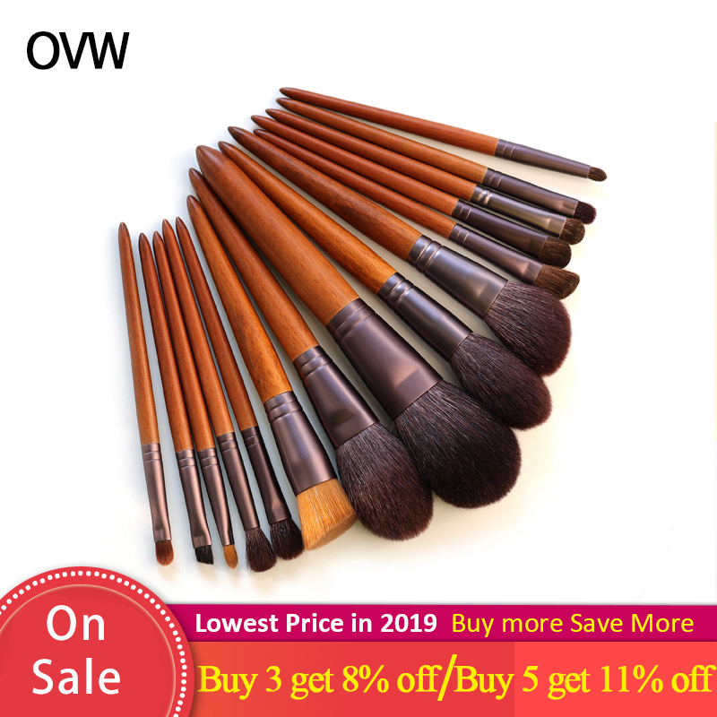 OVW Kosmetische Make-Up Werkzeuge Pinsel <font><b>Set</b></font> Pferd Ziegenhaar <font><b>15</b></font> stücke Tapered Blending Make-up Pinsel Natürliche Haar Pinsel Schatten shader image