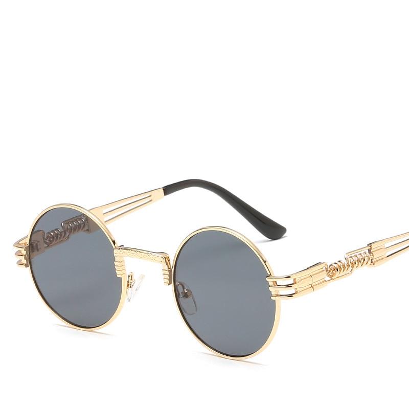 Sunglasses Men Round Shades Gothic Steampunk Metal Women Brand Designer Mirror High-Quality