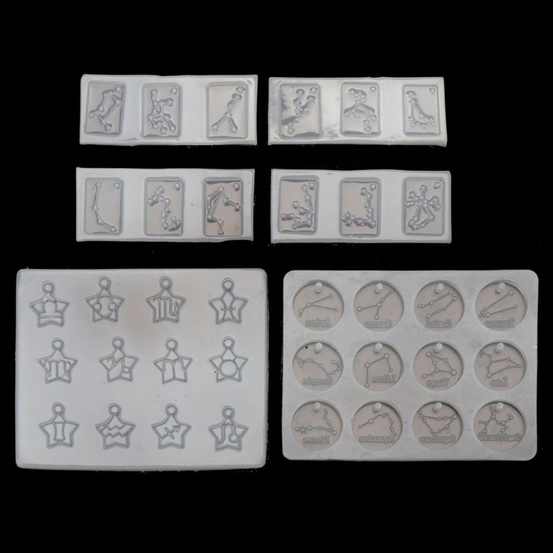 6Pcs 12 Zodiac Constellation Resin Mould Round Star Square Pendant Resin Mold Jewelry Making DIY Craft Tools