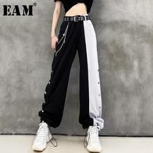 Loose Leg-Trousers Fit-Pants Spring Side-Button Waist Black Wide High-Elastic Women Fashion