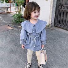 Blouse Jacket Baby-Girl Spring Fashion New Denim Dress Korean-Style Mid-Length