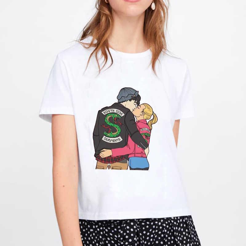 2020 donne Della MAGLIETTA Harajuku Top Estate Harajuku Magliette E Camicette Lato Sud Serpenti Femminile T-Shirt Riverdale Snake Stampato Divertente Vintage