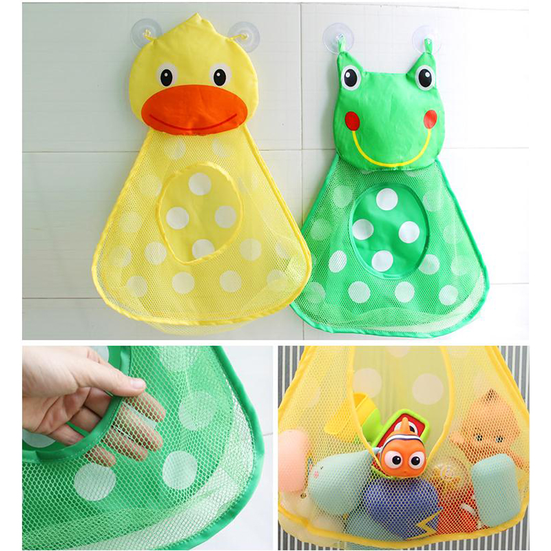 Cute Kids Baby Bath Toys Tidy Storage Suction Cup Folding Bag Baby Bathroom Toys Protable Suction Cup Baskets Mesh Bag Organiser