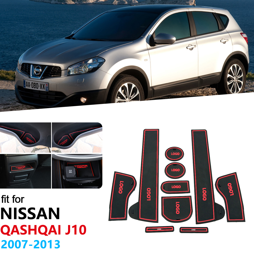 For Nissan Qashqai J10 2007 20018 2009 2010 2011 2012 2013 Anti-Slip Gate Slot Pad Rubber Cup Mat Accessories Car Stickers