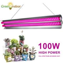 Luz LED de espectro completo para cultivo lámpara de crecimiento de tira interior para plantas, tienda de cultivo Fitolampy Phyto, flores y semillas para crecimiento de bombilla, 100W