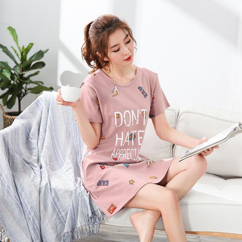 Summer Cotton Nightgowns For Women Dressing Gown Girls Nightshirts Nightdress Cartoon Short-sleeved Sleepshirt Sleepwear Gecelik