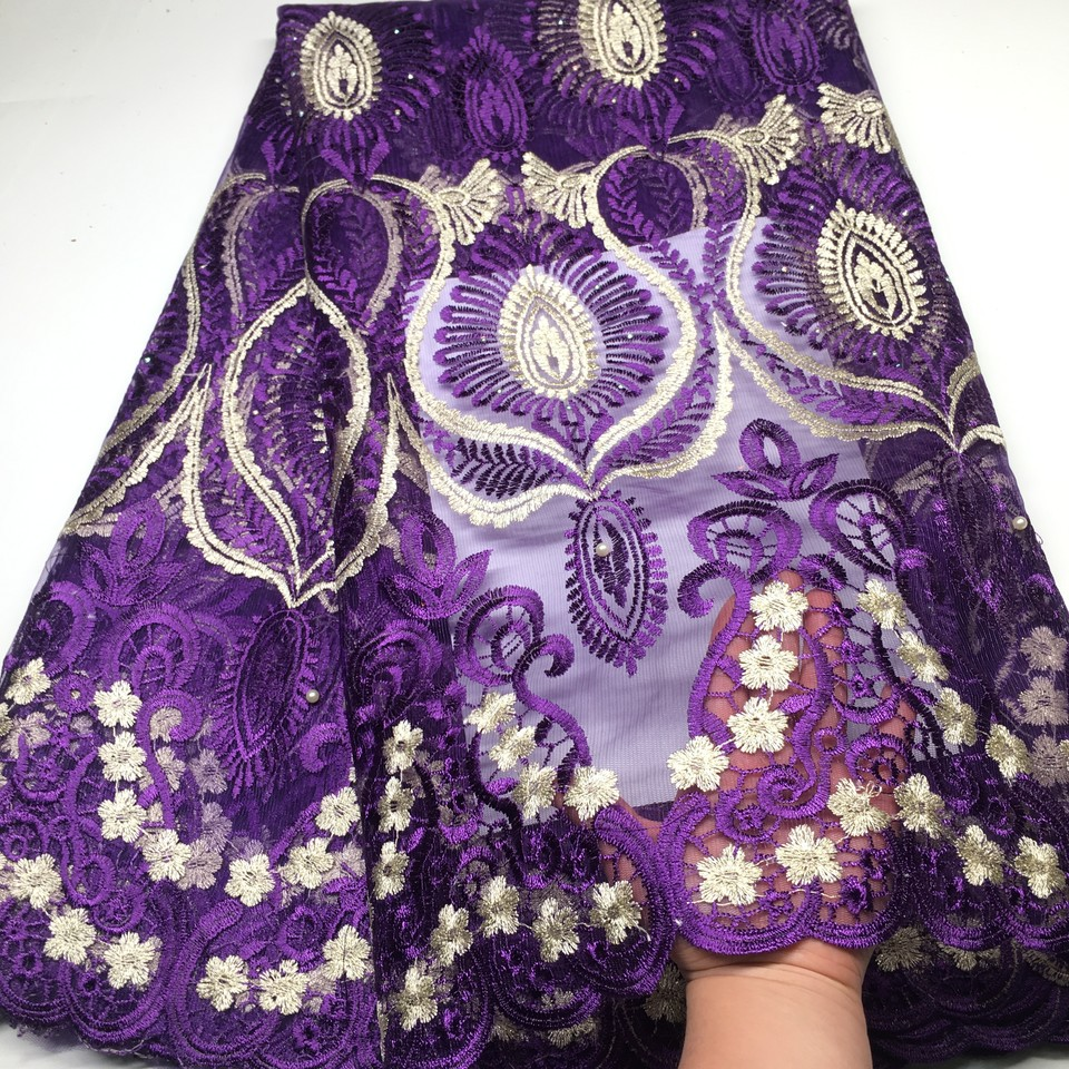 Purple Color African Lace Fabric For Wedding Dress High Quality French Lace Fabric With Stones Fashion Nigerian Lace Fabric