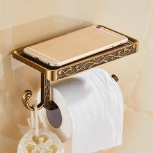 Papel de baño tallado antiguo de aleación de Zinc soporte para teléfono móvil con estante toallero para baño soporte de papel higiénico cajas de pañuelos