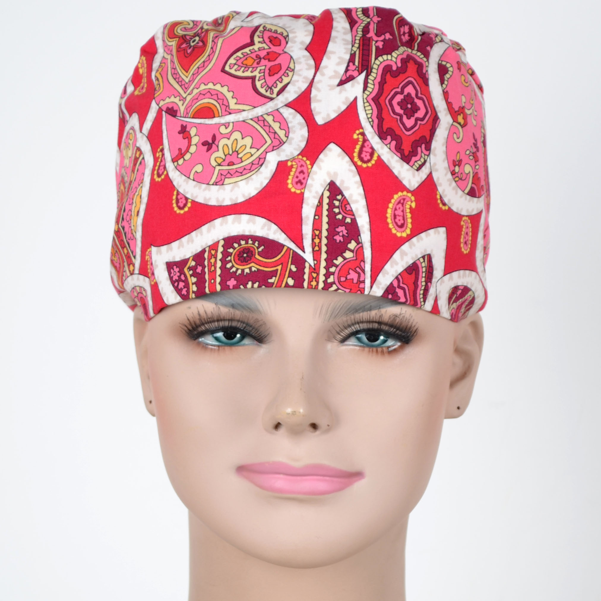 Medical Scrub Caps 100% Cotton  In Red With Floral Prints Surgical Caps With 3 Sizes For Choice