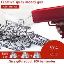 Pistola para fazer chover dinheiro, fashion vermelho rosa, brinquedos para presente de Natal, 100 peças