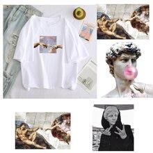 T camisas femininas michelangelo engraçado impressão dos desenhos animados de grandes dimensões tshirt grunge estético mão gráfico camiseta casual topos feminino tshirt