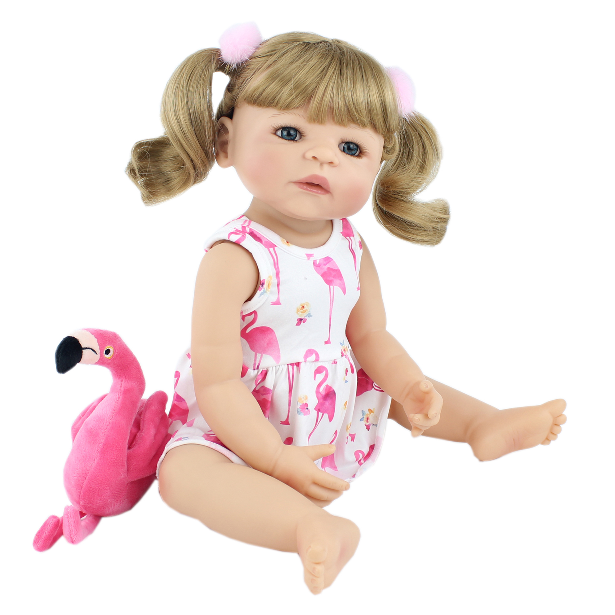 55cm Full Silicone Reborn Baby Doll Toy For Girl Blonde <font><b>Princess</b></font> <font><b>Toddler</b></font> Alive Babies Realistic Classic Boneca Play House Toy image