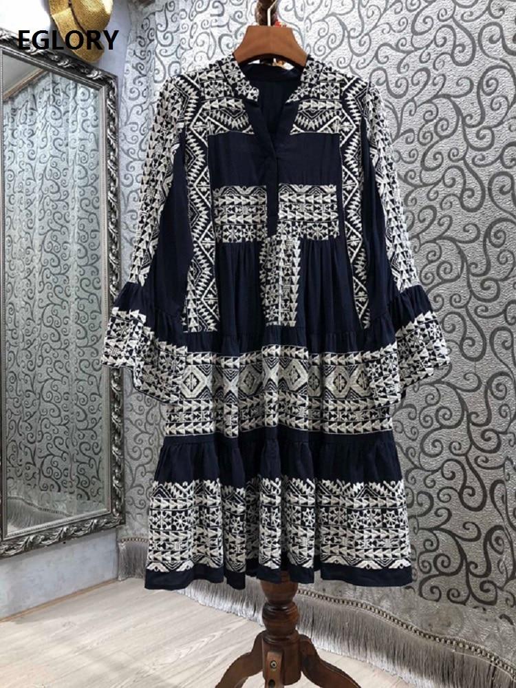 100%Cotton Women's Dress 2021 Spring Summer Clothing Ladies V-Neck Vintage Jacquard Patterns Flare Sleeve Casual Loose Dress