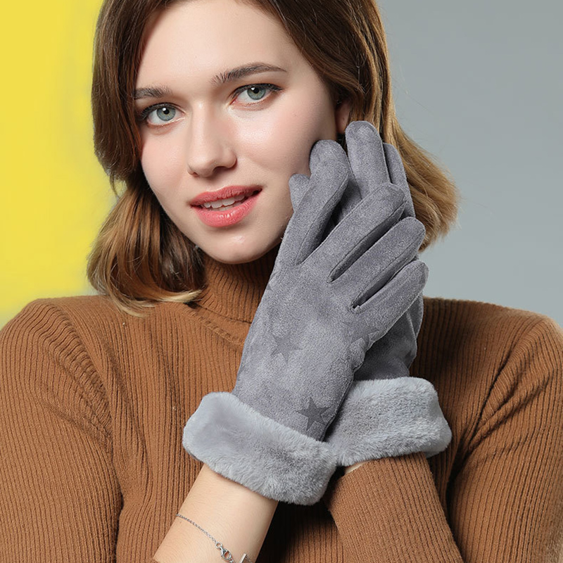 New Fashion Warm Leather Gloves For Women Soft Furry Warm Mittens Touch Screen Driving Gloves Ladies Faux Fur Black Gloves Luvas