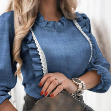 Elegant Denim Blue Ruffle Blouse Shirt Autumn Winter Long Sleeve Women Shirts Spring Elegant Office Lady O-Neck Button Top Blusa