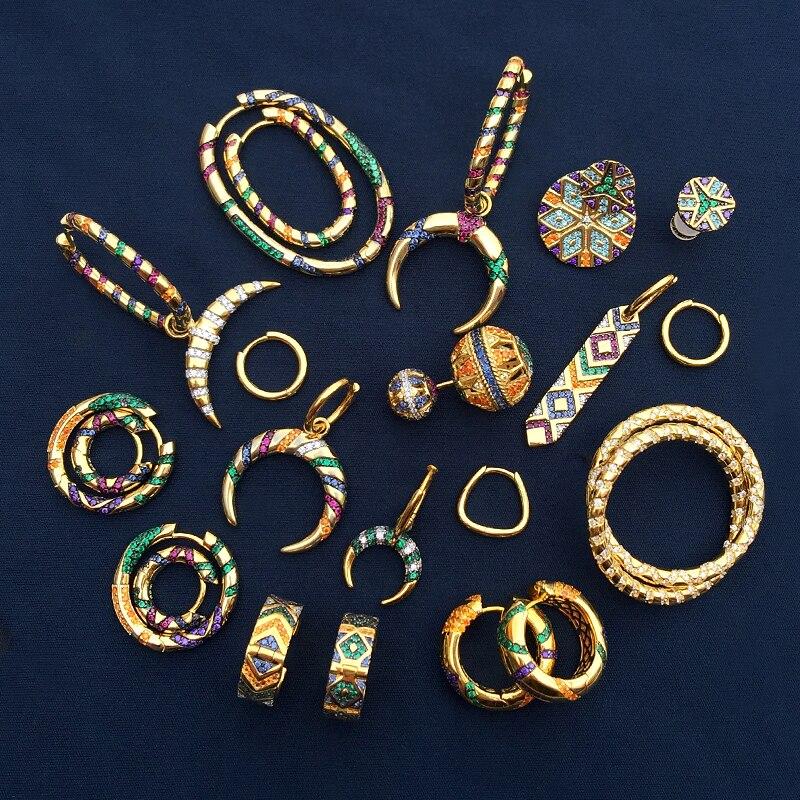 Bohemian Gold Color Earrings Women 2020 Trendy Geometric Cubic Zirconia Statement Earrings Fashion Jewelry Accessories Brincos