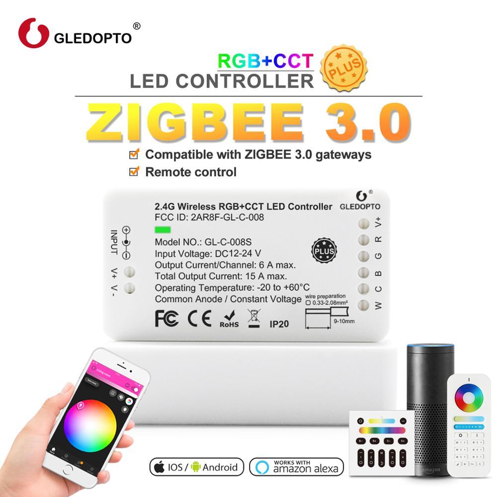 Controle remoto de zigbee rgb ww/cw led controlador dc12/24 v led strip controlador inteligente controle de voz trabalho com amazon eco mais led