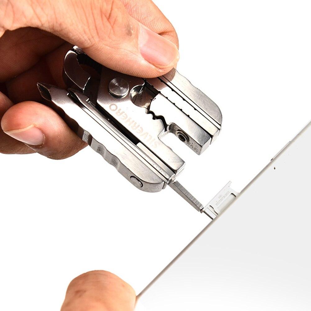 15-в-1 многофункциональный открытый инструмент EDC мини плоскогубцы с брелок мобильный телефон карта булавка цифровой отвертка для кемпинга пешего туризма