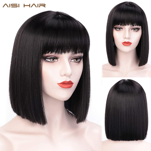 AISI HAIR Short Bob Wig With Bangs for Women Synthetic Bob Wigs Black Pink Purple Wig for Party Daily Use Shoulder Length