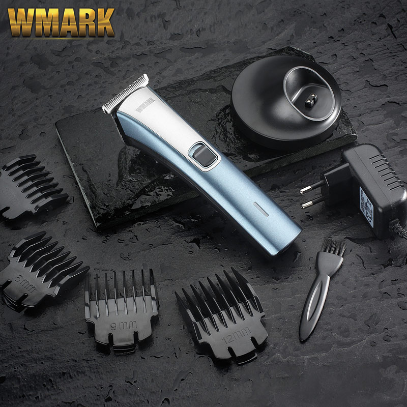 WMARK  F33-HC001 Cord/cordless Hair Clipper With Charge Base And T-blade Gray And Red Color  Balding Clipper Detail Triimer