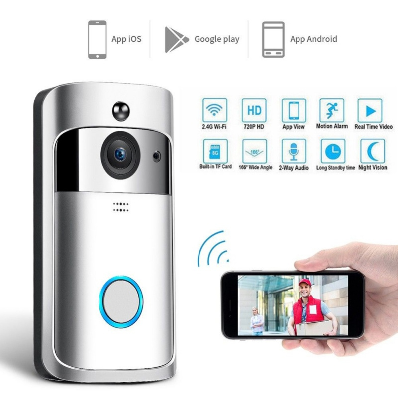 1080P Video Doorbell WiFi Smart Wireless Doorbell HD WiFi Security Eye Doorbell Visual Recording Remote Control Home Monitor