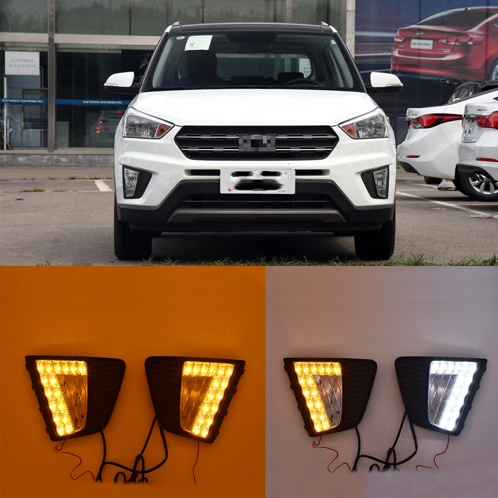 1pair Car LED DRL Daytime Running Lights LED Day Lights for Car Special Hyundai IX25 2014 2015 2016 Replace Fog Lamp Cover Holes