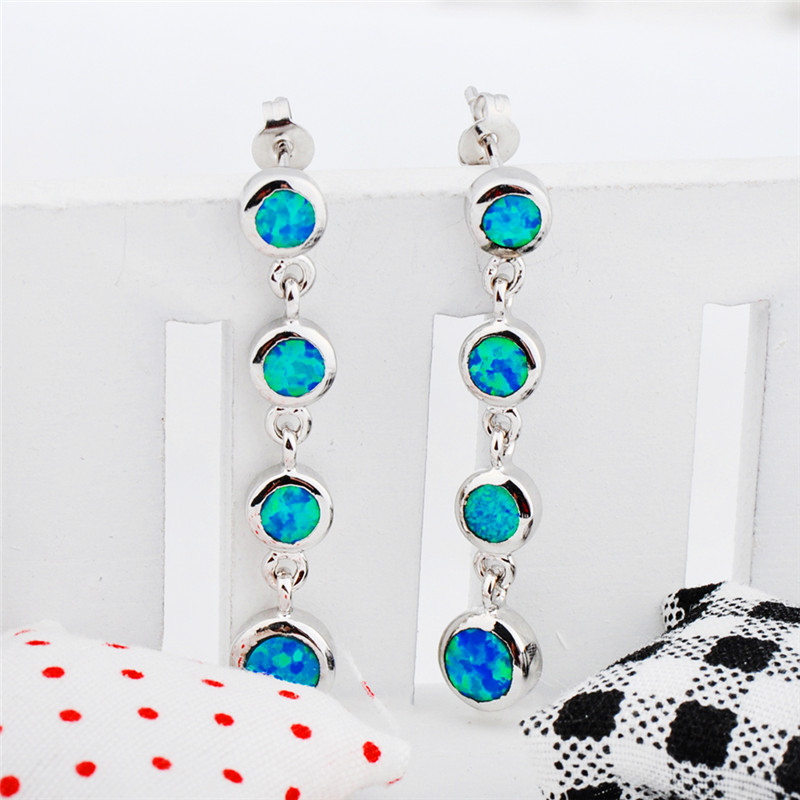 Boho Female Rainbow Opal Dangle Earrings Charm Drop Engagement Earrings For Women Dainty Round Long Wedding Earrings