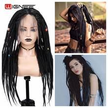 Wignee черный синтетический парик дредлока грязный Плетеный