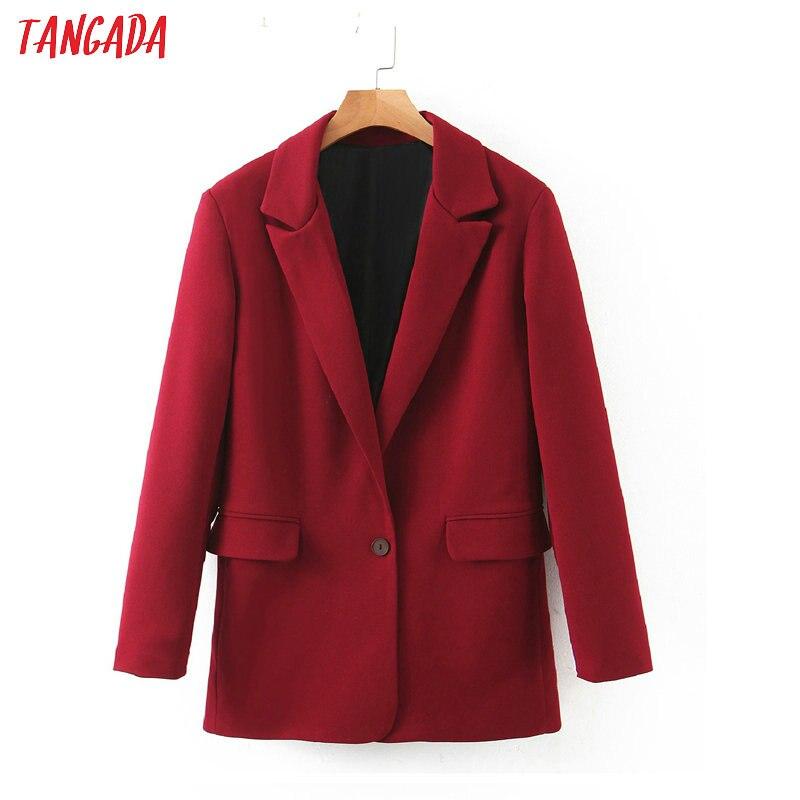 Tangada Women Vintage Solid Wine Red Blazer Female Long Sleeve Elegant Jacket Ladies Work Wear Blazer Formal Suits SL277