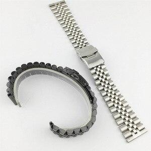 Image 5 - Pulseira de aço inoxidável brilhante de seda 18mm 20mm 22mm 23mm 24mm 26mm pulseira de relógio duplo bloqueio fivela de substituição pulseira de relógio com ferramenta