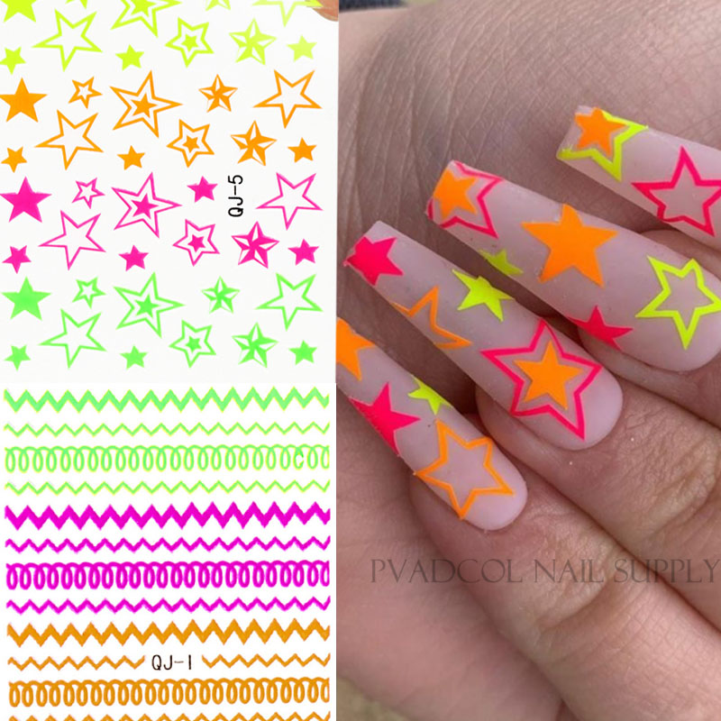 Nail Art 3D Decal Stickers Neon Lines Stars Summer Nails Self Adhesive Manicure Acrylic Designs Tool