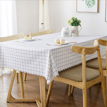 PVC Waterproof Tablecloths Nordic Style plaid Table Cloth Background Oilproof Plastic Table cover