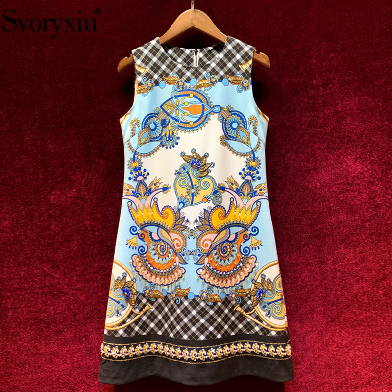 Svoryxiu Designer Custom Summer Vintage Short Dress Women's Diamond Beaded Plaid Flower Print Sleeveless Mini Dresses Vestdios