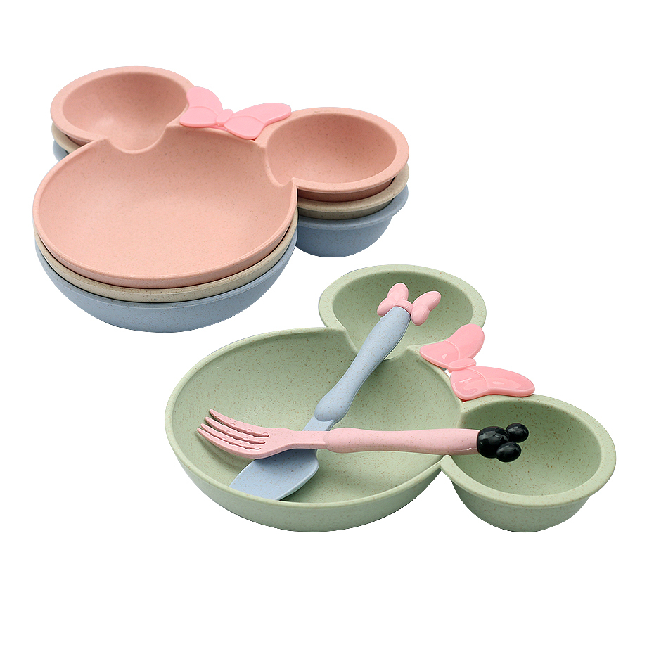 1Set Baby Tableware Set Cute Cartoon Feeding Dishes Kids Fruit Plates Dinner Bowl Spoon Fork Children Training Dinnerware