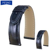 Pesno Dark Blue Alligator Skin Leather Watch Strap 20mm Men Watch Accessories Watchstrap Crocodile with Pin Buckle
