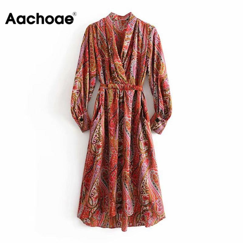 Aachoae Sexy Deep V Neck Long Floral Print Dress Women Vintage Long Sleeve Midi Party Dress Casual Female Sashes Dresses Vestido