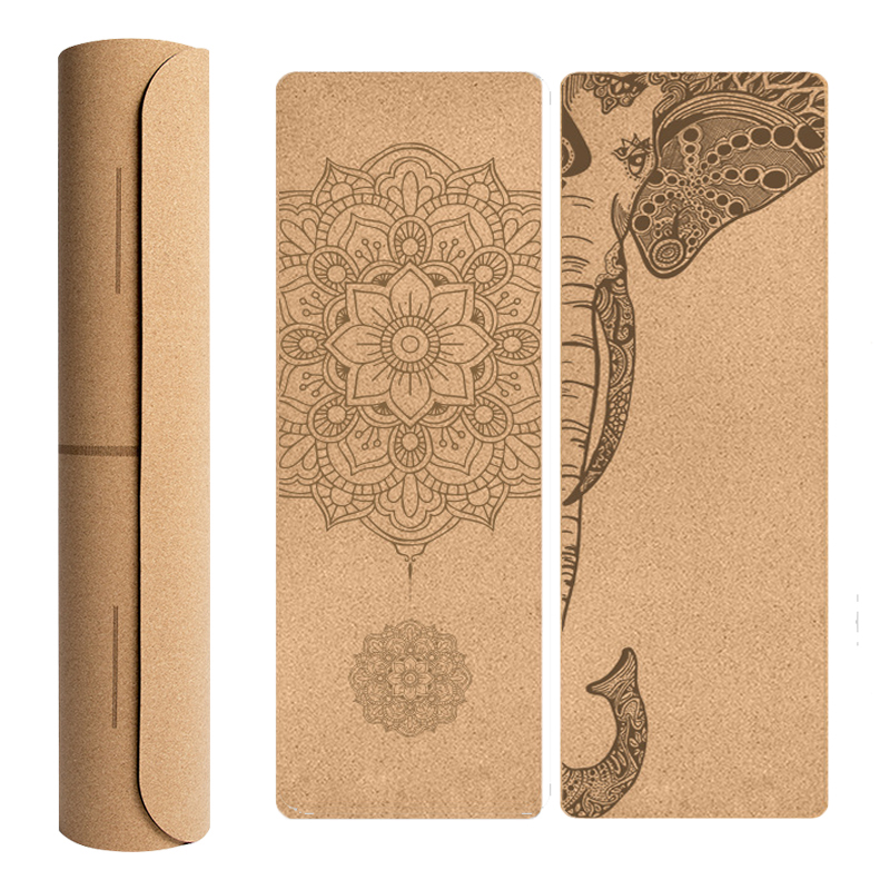 Unique Design Natural Cork TPE Yoga Mat Sports Mats Pilates Slim Aerobic Exercise Pads Non-slip Absorb Sweat Odorless Mat 4mm
