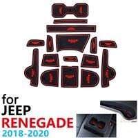 Anti Slip Gummi Tasse Kissen Tür Nut Matte für Jeep Renegade 2019 2020 Facelift Modell Zubehör Auto Aufkleber matte für telefon-in Autoaufkleber aus Kraftfahrzeuge und Motorräder bei