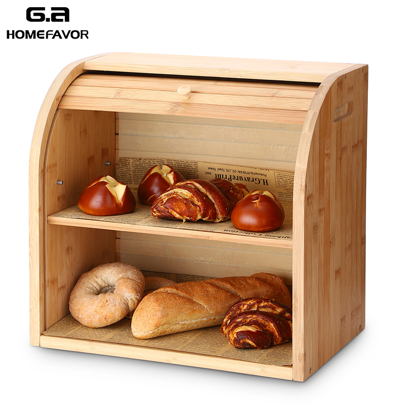 Bamboo Bread Box Storage Box Bins With Cutting Board Double Layers Drawer Large Food Containers Kitchen Organizer Home Decor