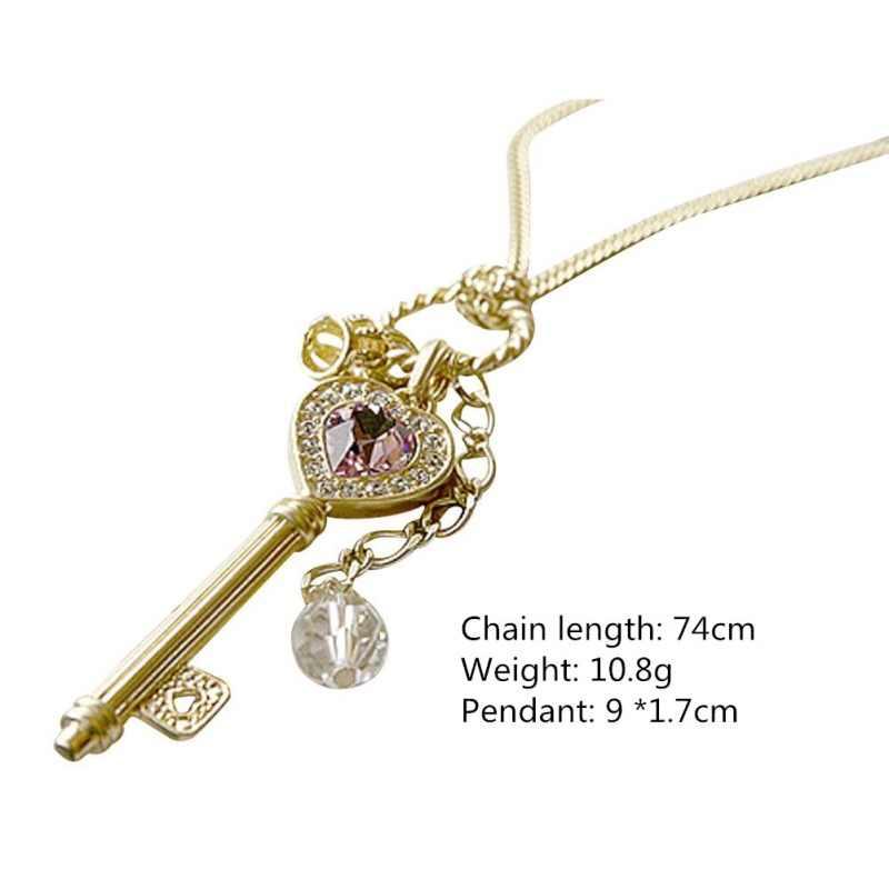 ใหม่เกาหลีรุ่นยาวสีม่วงคริสตัลรักทองเงินสร้อยคอมงกุฎเสื้อกันหนาวป่าโซ่ผู้หญิงแฟชั่นเครื่องประดับร้อน