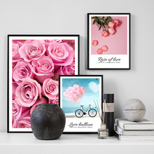 Love Balloon Pink Rose Wall Art Print Canvas Painting Nordic Poster And Prints Pictures For Living Room Home Decor
