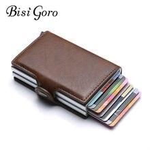 Bisi goro carteira unissex com sistema rfid, carteira masculina unisex com bloqueio de metal rfid, com compartimento para cartões de viagem, em alumínio