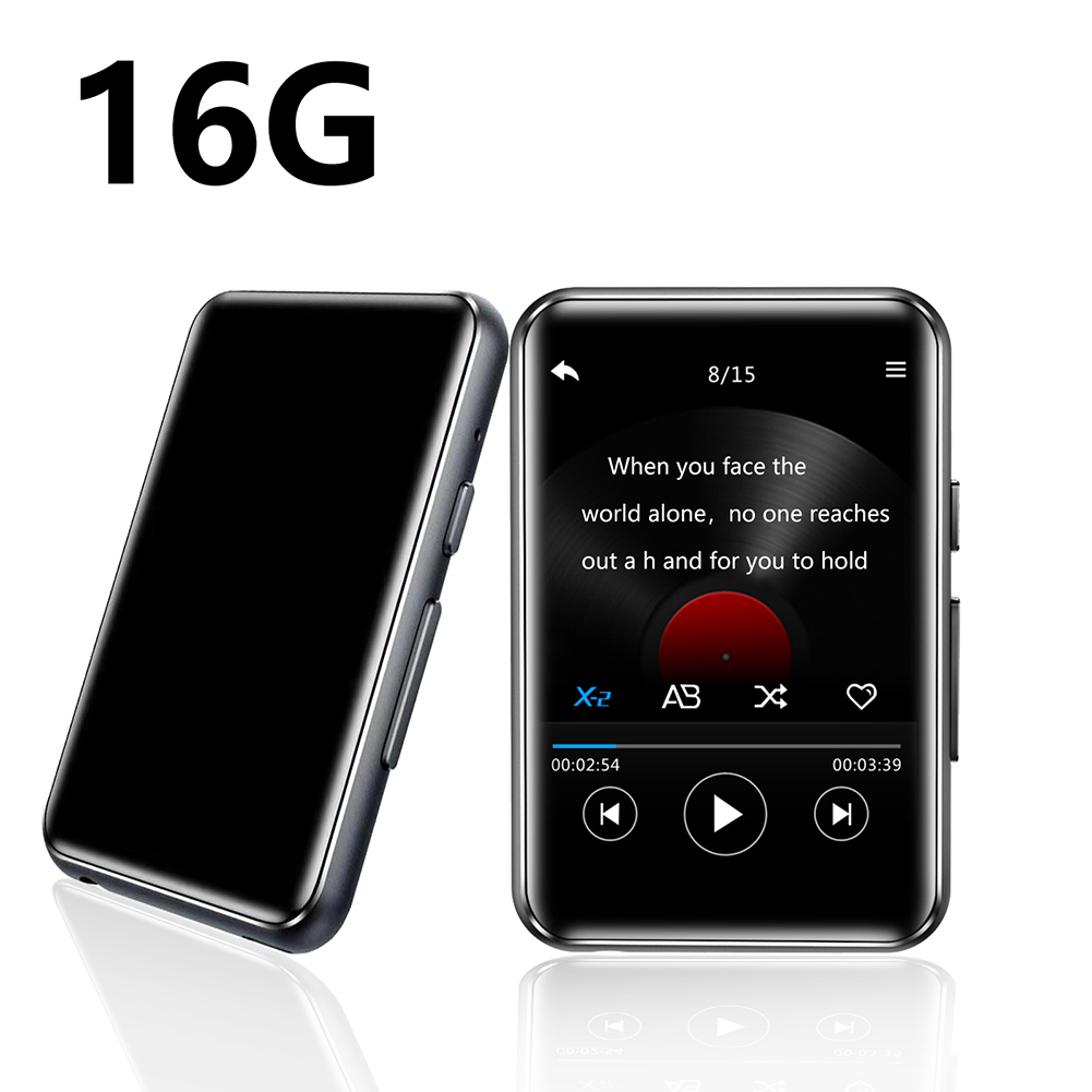 16GB MP3 Bluetooth Player Full Touch Screen Portable Music Player For Running Line-in Recording FM Radio Video Play