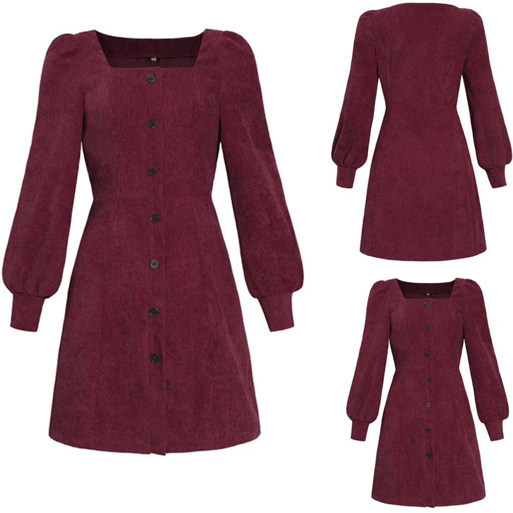 Sind sie sicher nicht zu klicken und sehen? Mode Frauen Quadrat Kragen Puff Sleeve Passenden Langarm Hüfte Kleid dropshipping