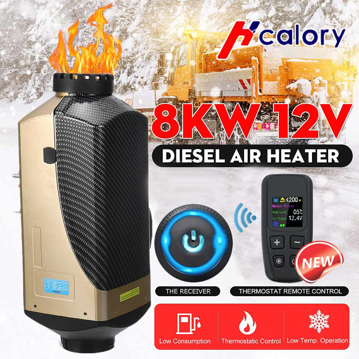 HCalory 12V Car Heater  Diesel Air Parking Heater New LCD Switch + Integrated Remote Control Machine For Van Boat Bus RV
